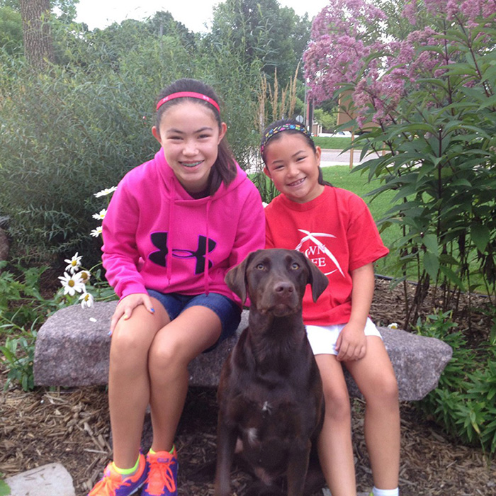 Daughters, Lauren and Hanna, with Stella