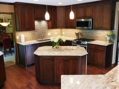 kitchen remodel with island and quartz countertops