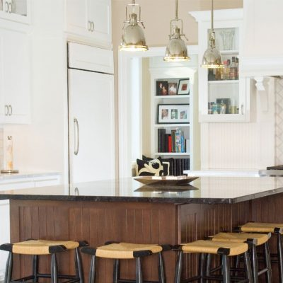 large kitchen island with counter seating