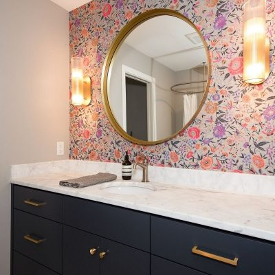 Bathroom vanity floral wallpaper gold mirror